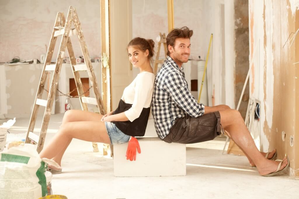 Relaxed couple during remodel